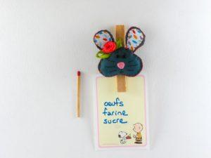 Magnet pince photo avec une souris en feutrine.