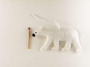 Décoration de Noël ours polaire en feutrine
