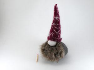 Décoration de Noël grand gnome chapeau violet en feutrine