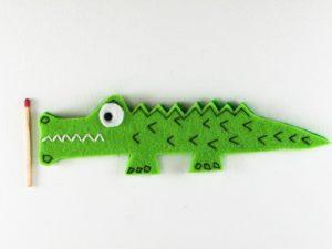 Magnet crocodile en feutrine