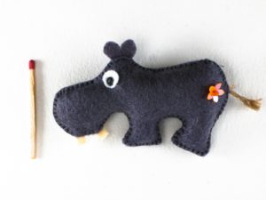 Magnet hippopotame en feutrine